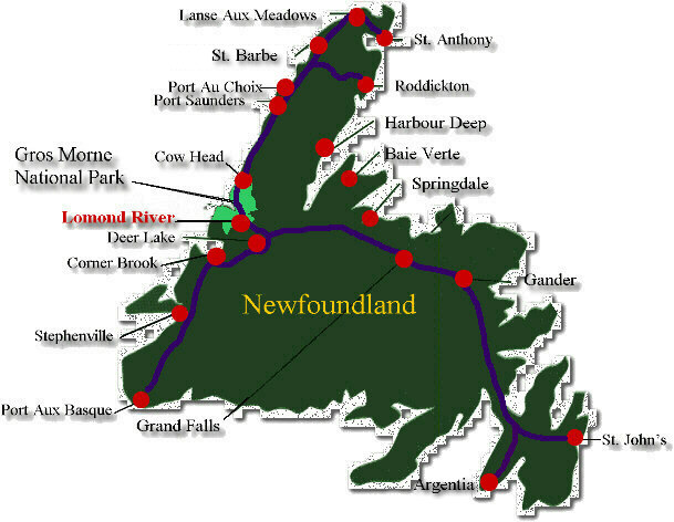 Lomond River Map Newfoundland - Newfoundland map